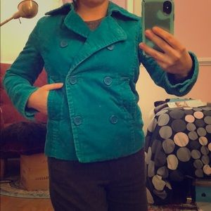Teal Corduroy Double-Breasted Jacket